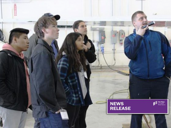 Job Shadow Day Photo of Kids in Hangar by Airplane